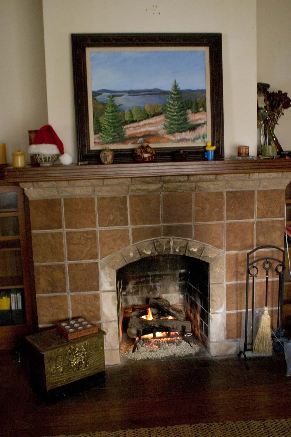 Fireplace with gas logs ablaze