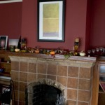 Library Mantel with Autumn Decor